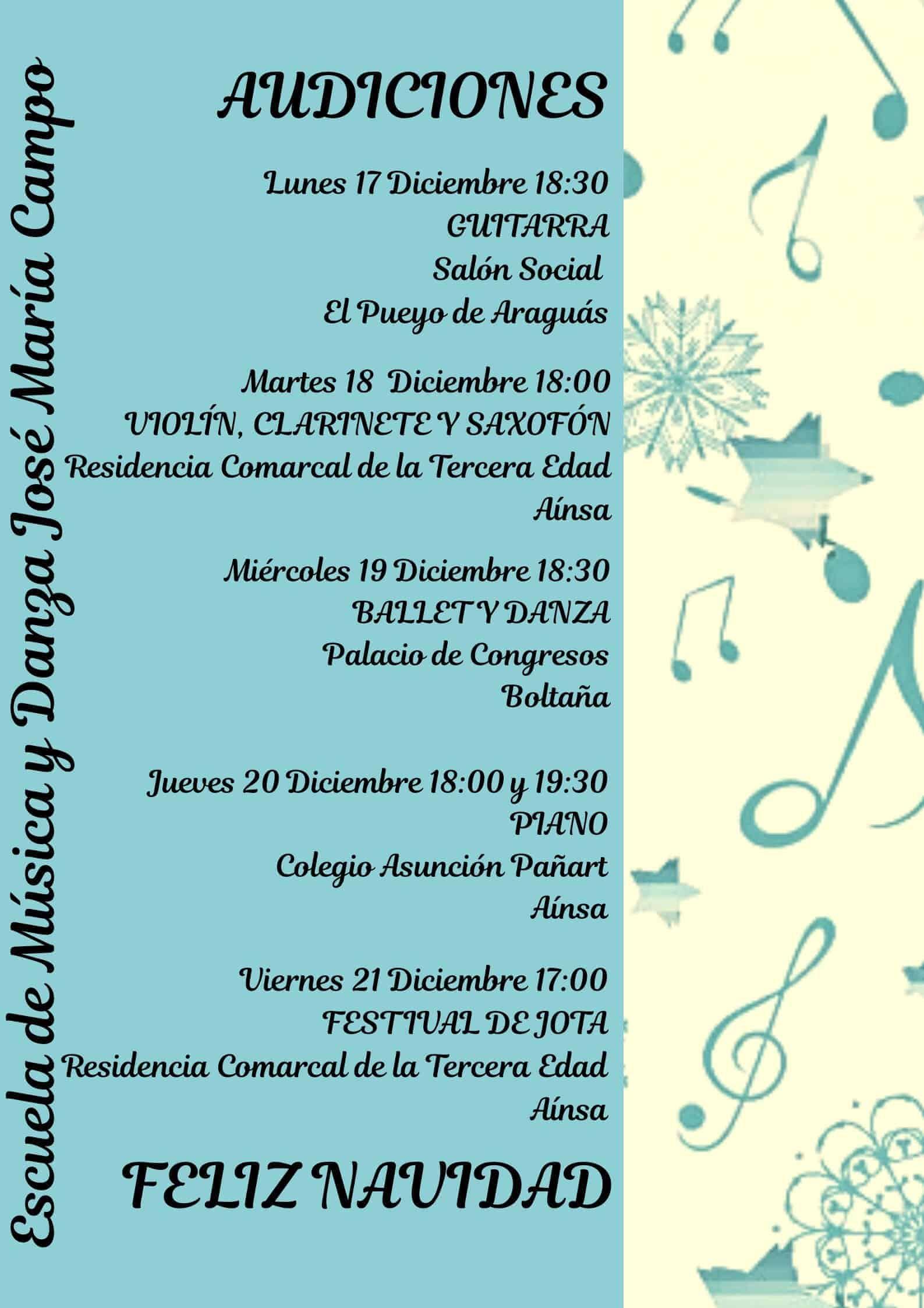 Feliz Navidad Clarinete.Audiciones Escuela De Musica Y Danza Jose Maria Campo